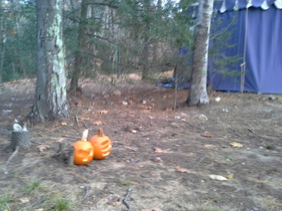 Jack-o-lanterns protecting the cabins and tents.