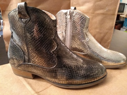 before (gold) and after (black?) dying snakeskin boots
